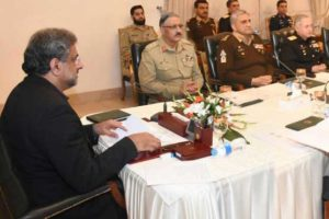 Trump's anti-Pakistan remarks contradictory to ground realities, observes NSC ISLAMABAD (Azad Dunya News) In response to the US President s anti-Pakistan remarks, the National Security Committee on Tuesday said that Donald Trump's allegations are contradictory to ground realities. The seventeenth meeting of the National Security Committee was chaired by Prime Minister Shahid Khaqan Abbasi today in Islamabad to review the emerging strategic situation in the region and beyond. Khawaja Muhammad Asif, Minister for Foreign Affairs, Prof Ahsan Iqbal, Minister for Interior, Mr. Khurram Dastgir, Minister for Defence, General Zubair Mehmood Hayat, Chairman JCSC, General Qamar Javed Bajwa, Chief of the Army Staff, Admiral Zafar Mahmood Abbasi, Chief of the Naval Staff, Air Chief Marshall SohailAman, Chief of the Air Staff, Mr. Miftah Ismail, Advisor to the Prime Minister on Finance, Revenue and Economic Affairs, Lt. General Nasser Khan Janjua (Retd), National Security Advisor, Mr. Aizaz Ahmad Chaudhry, Pakistan's Ambassador to the US, and senior civil and military officials attended the meeting.